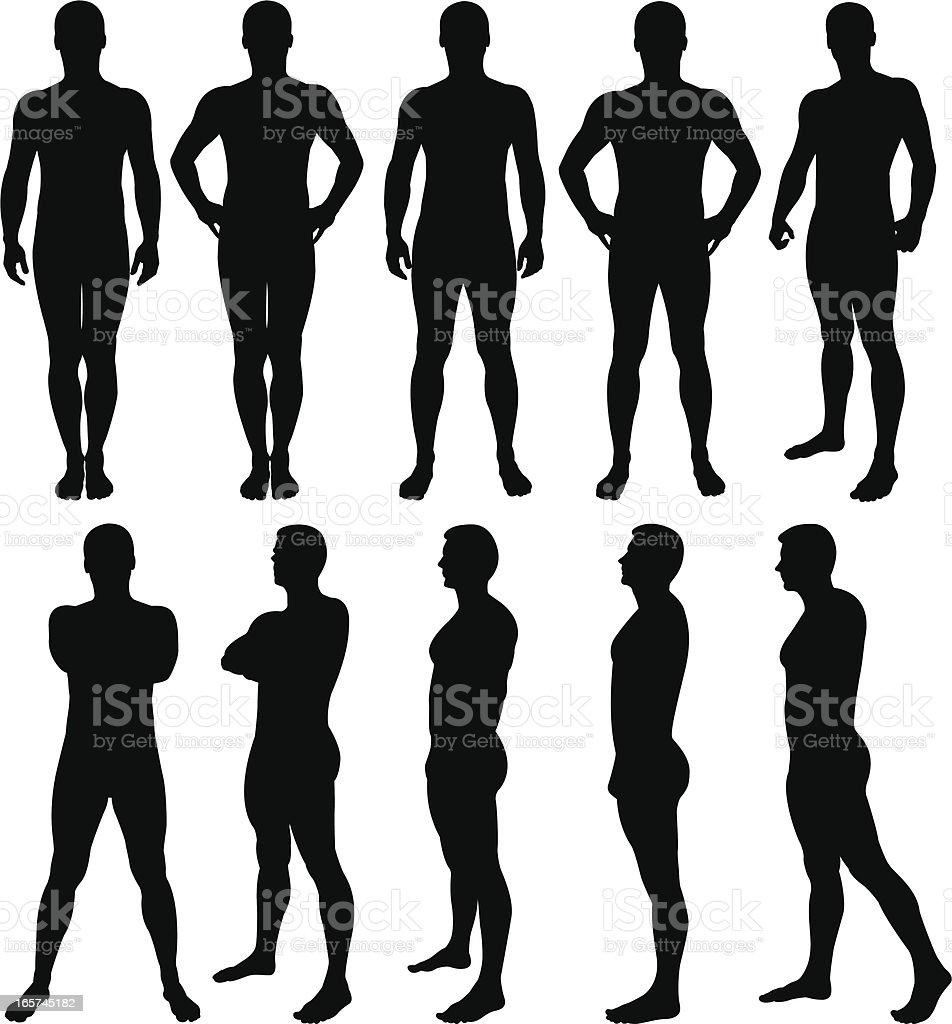silhouettes homme posant - Illustration vectorielle