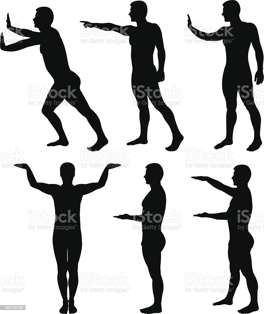 Male silhouettes posing royalty-free stock vector art