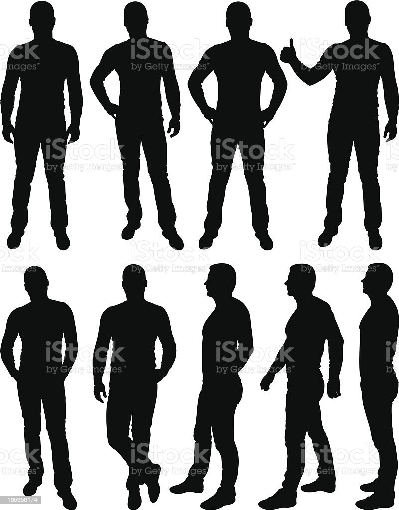 Male silhouettes vector art illustration