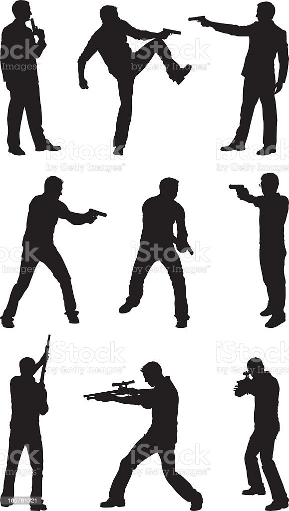 Male silhouettes with hand guns and rifles vector art illustration
