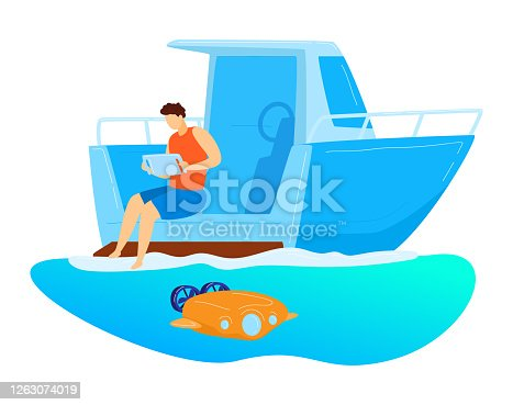 Male sitting yacht, remote control underwater drone, character male research ocean bottom isolated on white, cartoon vector illustration. Modern technology study sea floor, automatic unmanned vehicle.