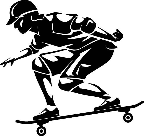 Male Skateboarder Teenager isolated illustration vector art illustration