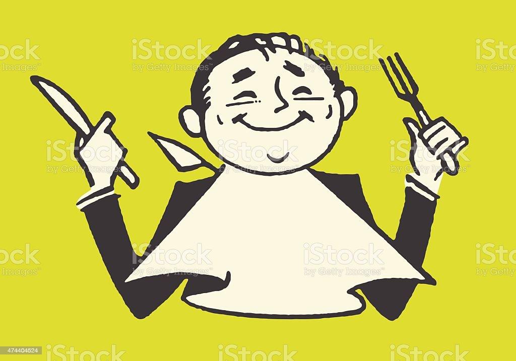 Homme souriant tenant une fourchette et un couteau - Illustration vectorielle