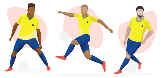 stockillustraties, clipart, cartoons en iconen met mannelijke voetbalspeler pictogram karakter set-multiculturele diversiteit concept, mannen voetbal - soccer player