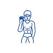 Male striptease line icon concept. Male striptease flat  vector symbol, sign, outline illustration.