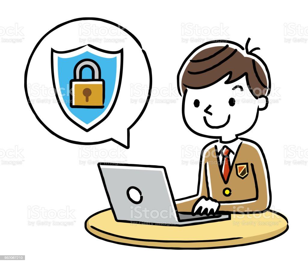 Male Student: Internet, Security vector art illustration