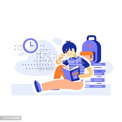 Male student sitting and reading books, education program, learning literature, literacy concept, assiduous boy, vector flat illustration