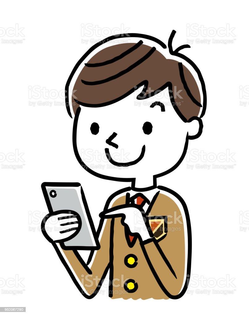 Estudiante masculino: Smartphone - ilustración de arte vectorial