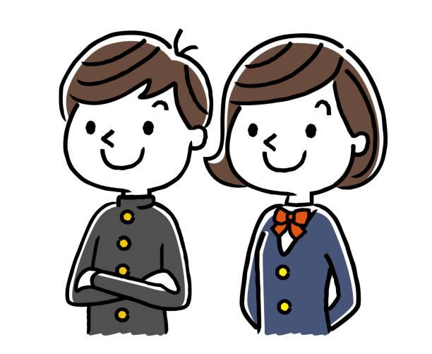 ilustraciones, imágenes clip art, dibujos animados e iconos de stock de estudiantes varones y las niñas estudiantes: futuro, futuro, sueños, esperanza - escuela media