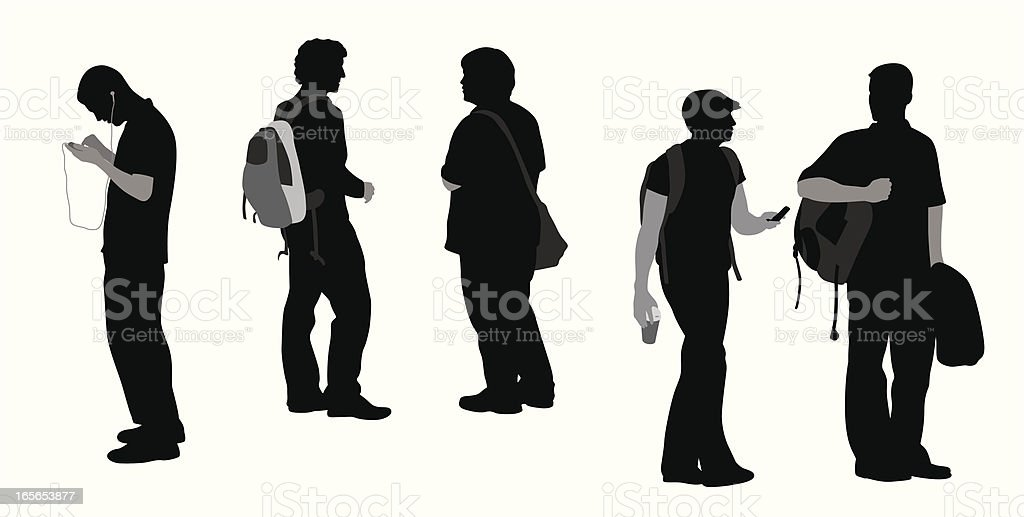 Male Students Vector Silhouette royalty-free stock vector art
