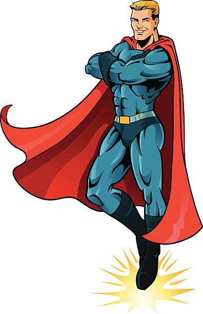 illustrations, cliparts, dessins animés et icônes de mâle de super héros survoler au-dessus du rez-de-chaussée-isolé - modèles de bande dessinée