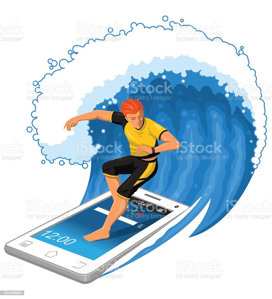 Male Surfer Rides Big Wave Standing On Smartphone. vector art illustration