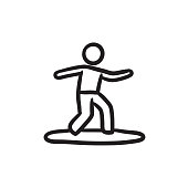 Male surfer riding on surfboard sketch icon