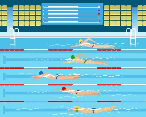 illustrations, cliparts, dessins animés et icônes de mâle natation course en piscine - natation