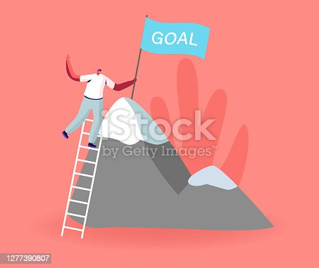 Male Character Take New Height. Business Man Climbing on High Mountain. Businessman Stand on Ladder, Set Up Goal Flag on Rock Peak. Successful Career, Leadership, Victory. Cartoon Vector Illustration