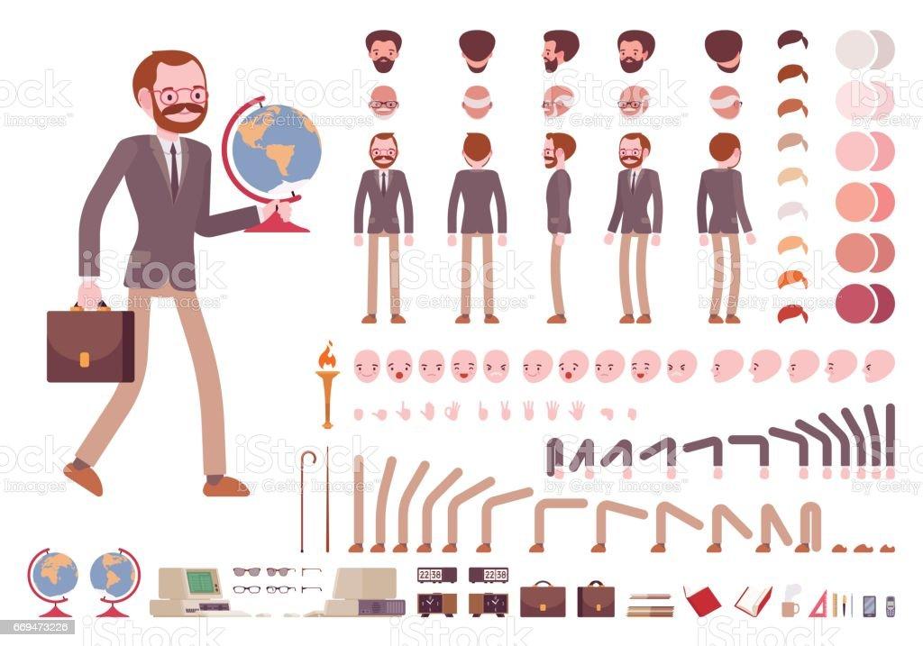 Male teacher character creation set vector art illustration