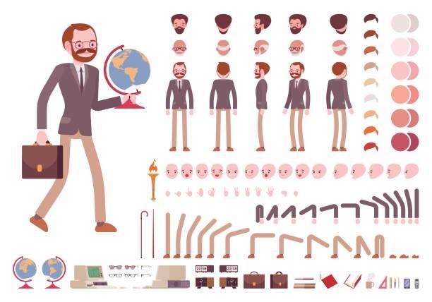 illustrations, cliparts, dessins animés et icônes de jeu de création de caractères enseignant de sexe masculin - professeur d'université