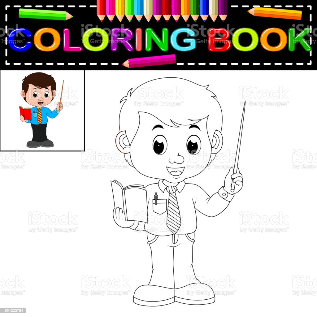 Male Teacher Coloring Book Royalty Free Stock Vector Art Amp
