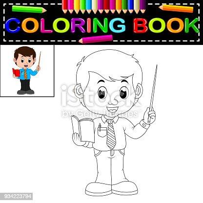 Komik Ogretmen Boyama Kitabi Clipart Goruntusu