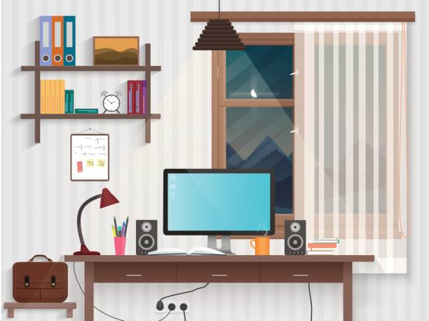Male teenager room with workplace. Modern man style room interior design with furniture. vector art illustration