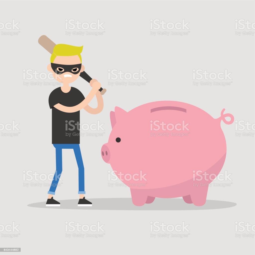 Male thief breaking a piggy bank with a baseball bat / flat editable vector illustration, clip art vector art illustration