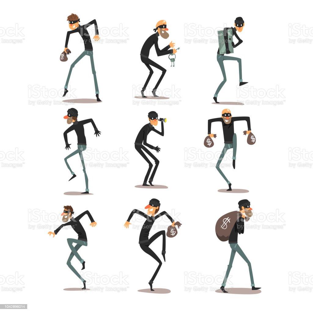 Männliche Dieb in Maske gesetzt, Räuber Zeichentrickfiguren Verbrechen begehen Vektor Illustrationen auf weißem Hintergrund – Vektorgrafik