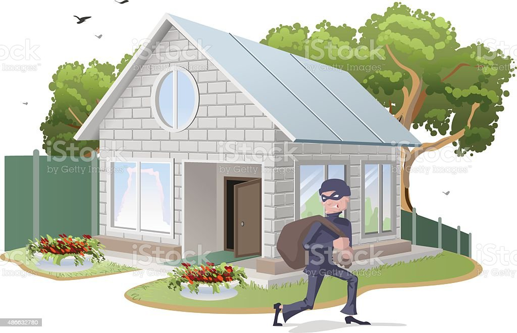 Male thief robbed house. Burglaries. Property insurance vector art illustration