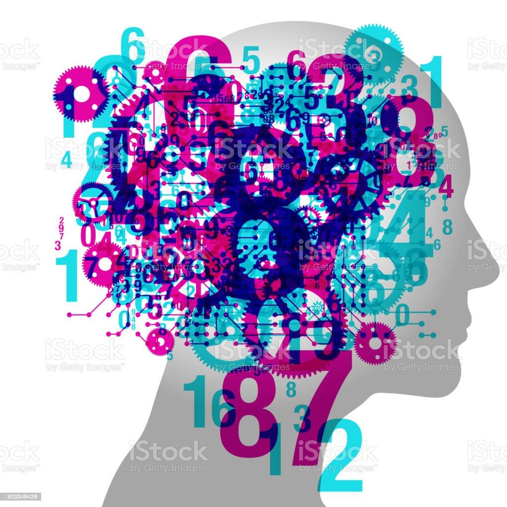 Male Thinking vector art illustration