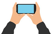 istock Male two hands hold smartphone, isolated on white background. Screen of phone. Vector illustration 1297537645