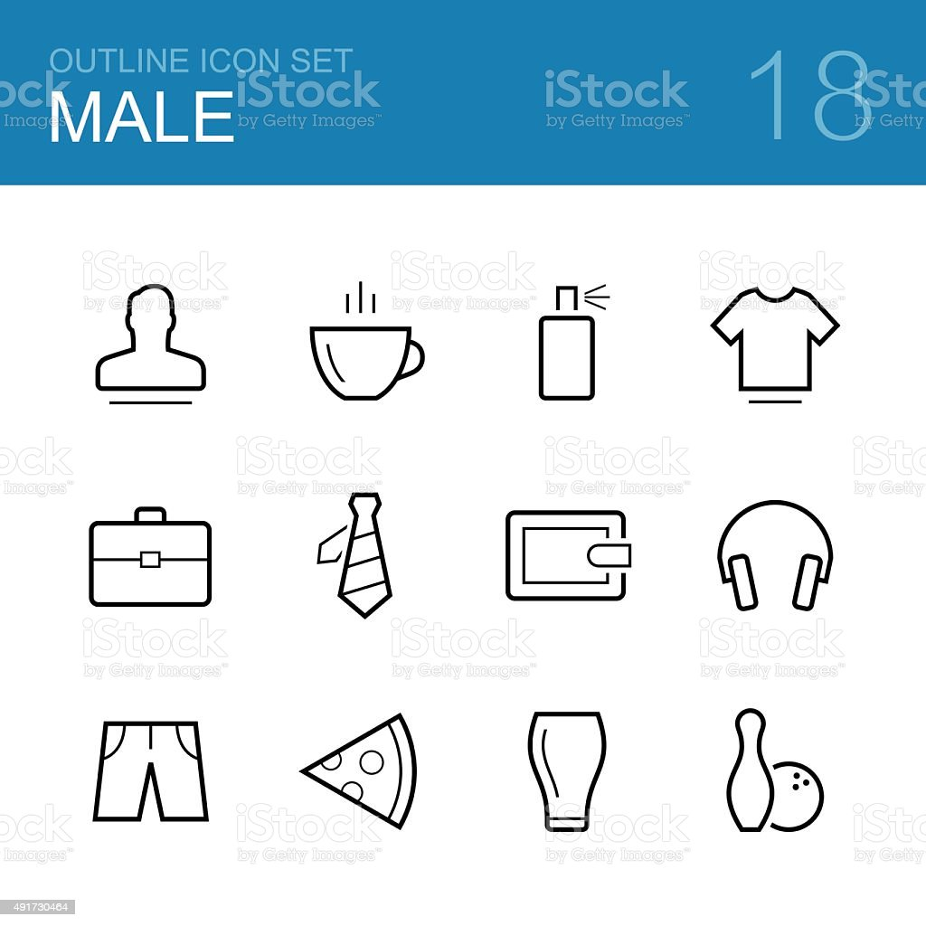 Male vector outline icon set vector art illustration