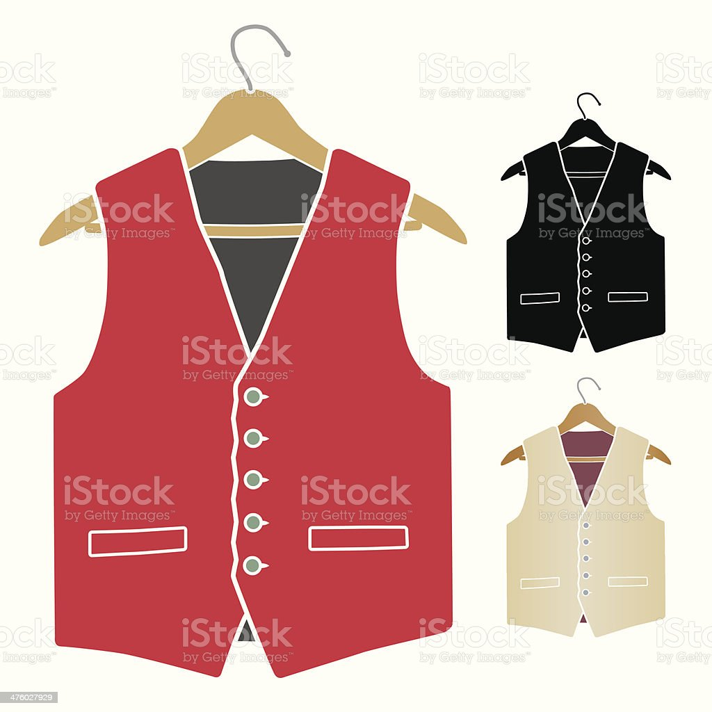 male vest on hanger vector art illustration