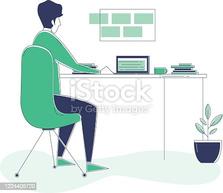Illustration of a male video editor hard at work in his home office.