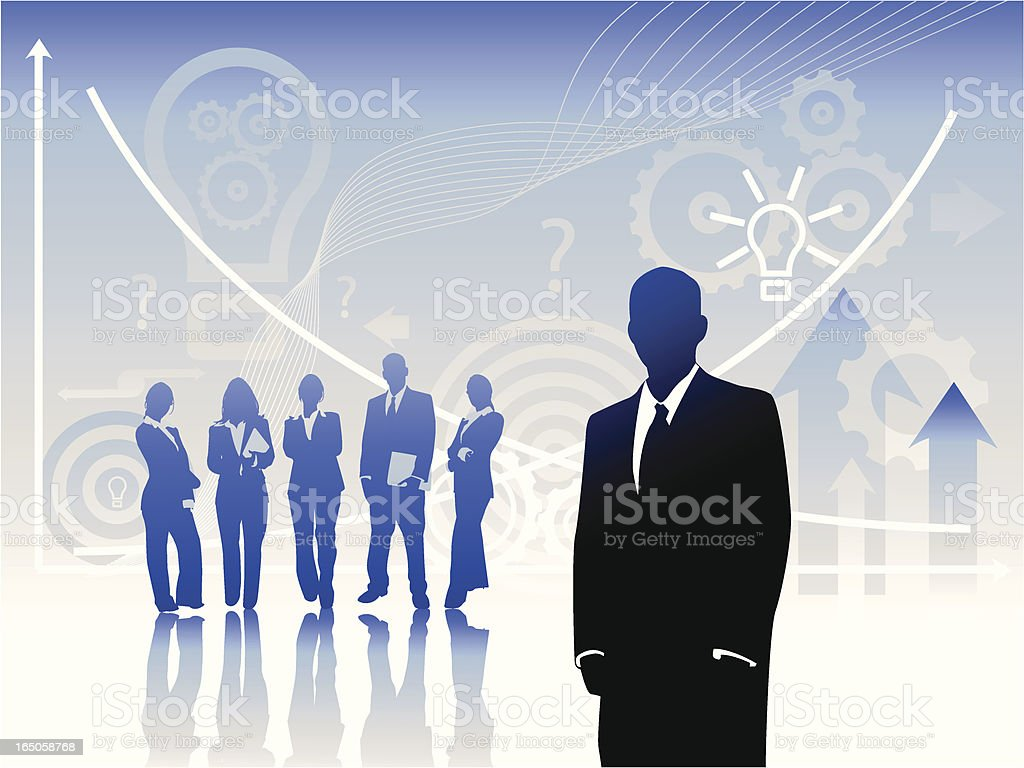 Male Visionary Leading Creative Team royalty-free stock vector art