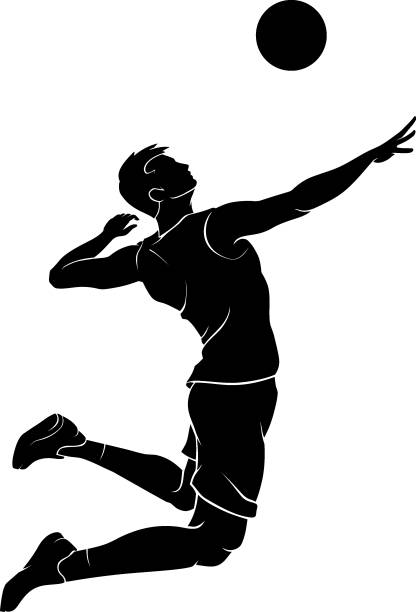 Male Volleyball Mid Air Silhouette vector art illustration