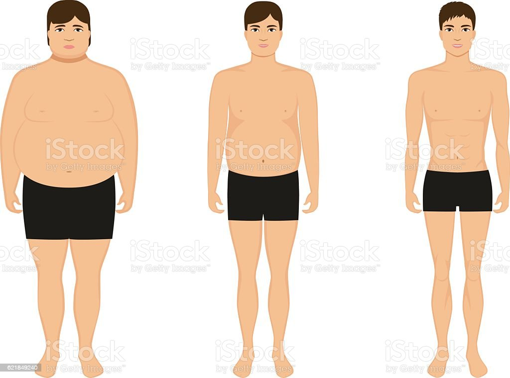 male weight loss slimming man body after diet のイラスト素材