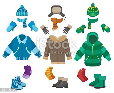 Male winter clothing isolated on white background. Cold weather clothes collection for boys vector illustration