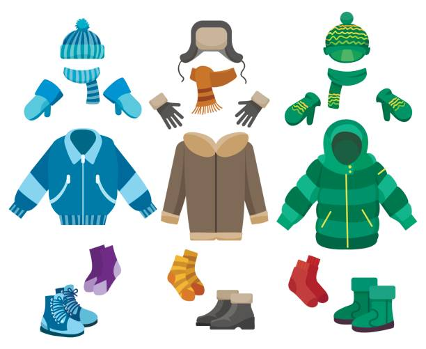 Male winter clothing Male winter clothing isolated on white background. Cold weather clothes collection for boys vector illustration mitten stock illustrations