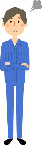 männliche arbeiter, wut - vertrauensbruch stock-grafiken, -clipart, -cartoons und -symbole