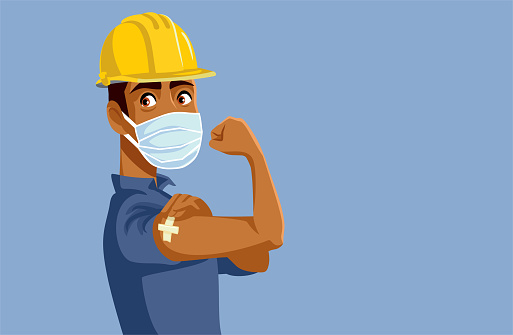 Male Worker Showing Vaccinated Arm