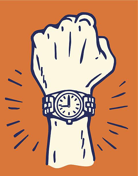 bildbanksillustrationer, clip art samt tecknat material och ikoner med male wrist with new watch - armbandsur