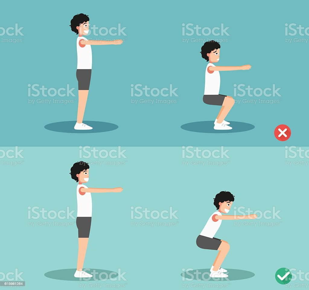 Male wrong and right squat posture,illustration vector art illustration