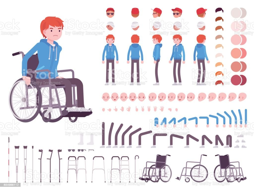 Male young wheelchair user character creation set vector art illustration