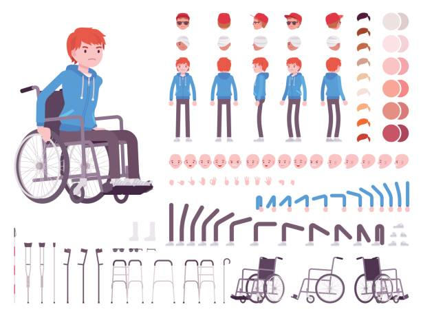 male young wheelchair user character creation set - wheelchair sports stock illustrations, clip art, cartoons, & icons