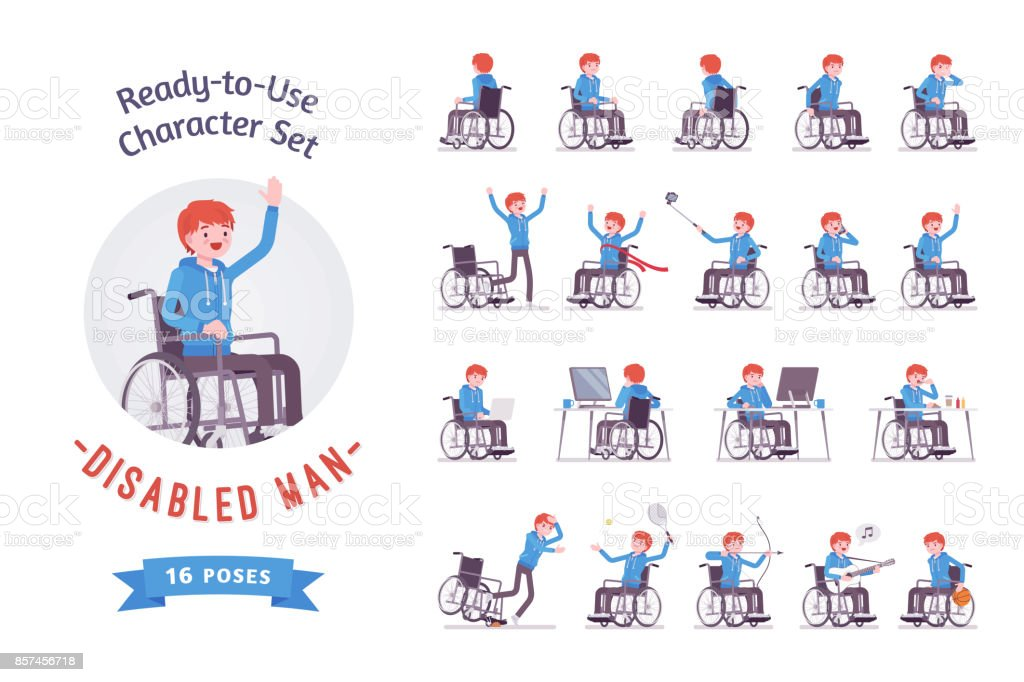 Male young wheelchair user character set, various poses vector art illustration