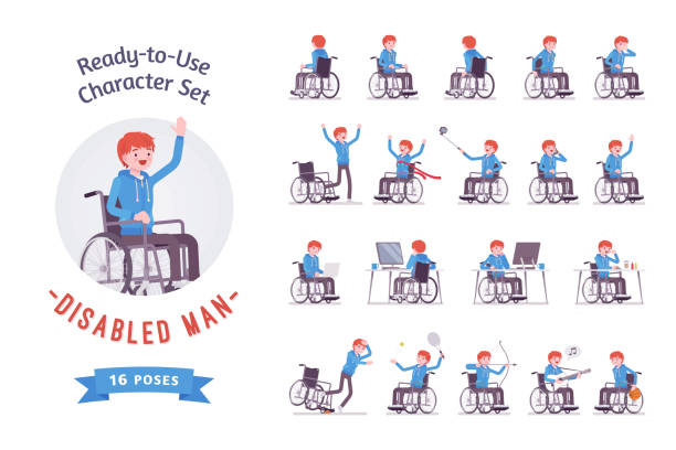 male young wheelchair user character set, various poses - wheelchair sports stock illustrations, clip art, cartoons, & icons
