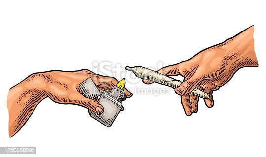 istock Males hands holding lighter and cigarette. Vector color vintage engraving 1250656892