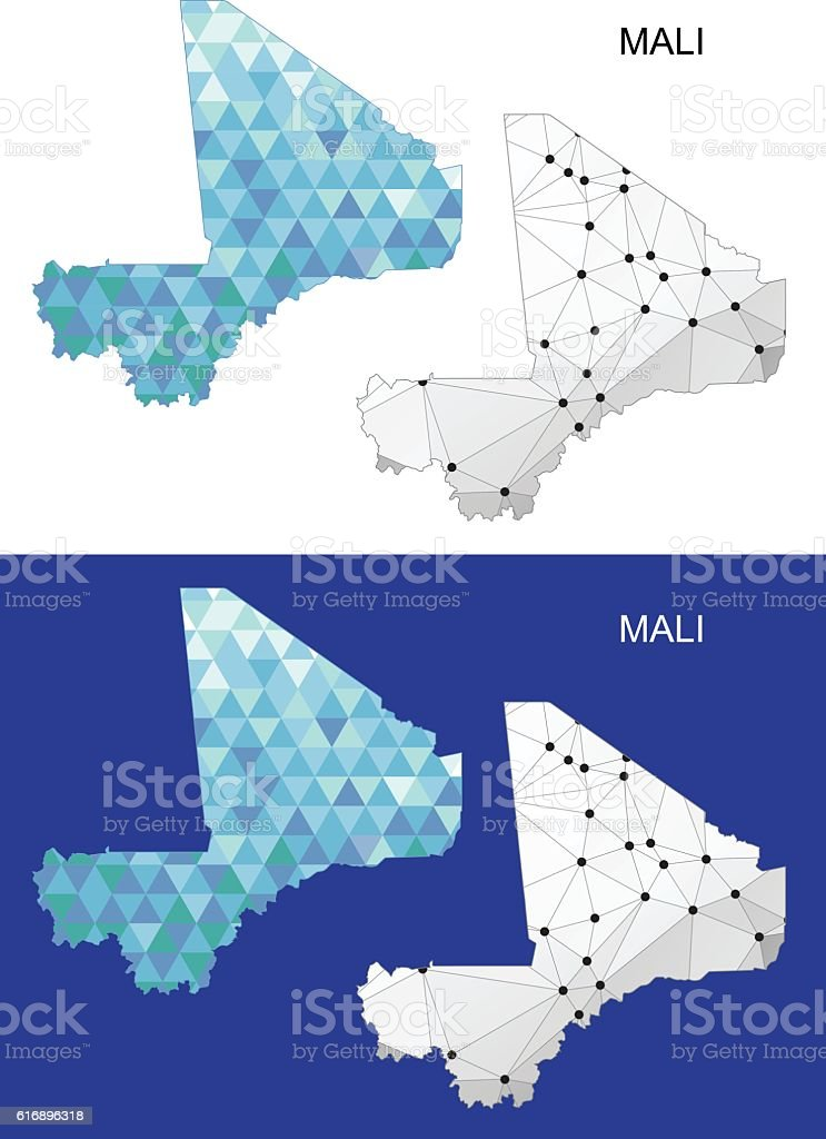 Mali Map In Geometric Polygonal Style Abstract Gems Triangle ...