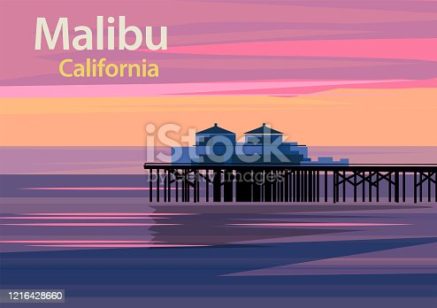 Malibu Pier at sunset in California, United States, vector illustration