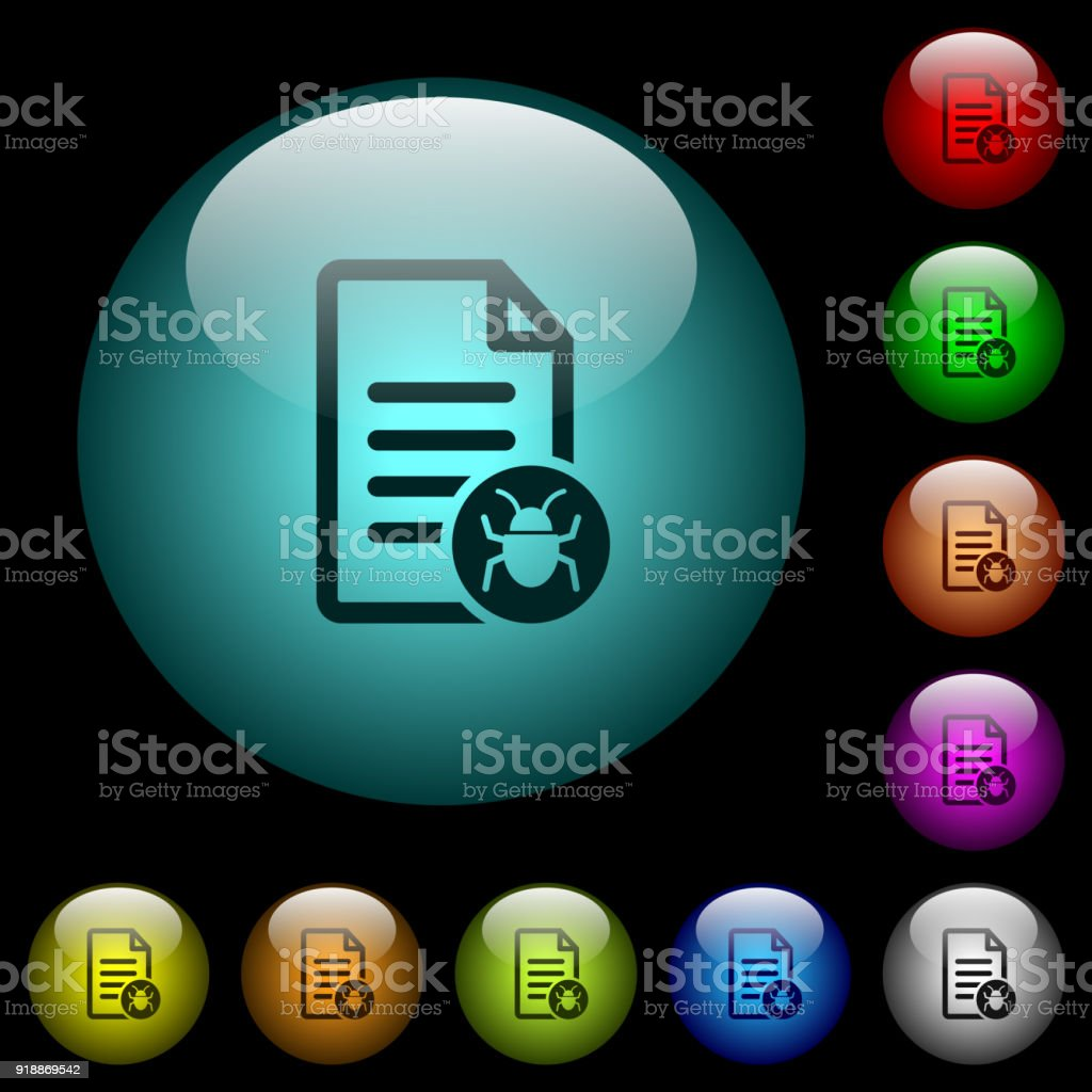 Malicious Document Icons In Color Illuminated Glass Buttons