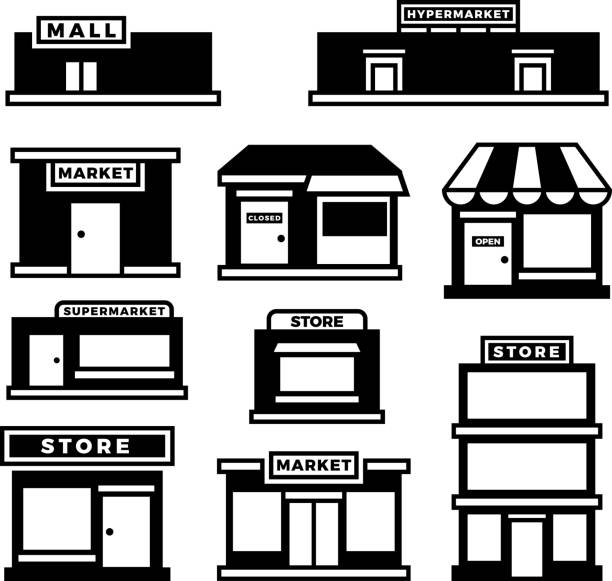 Mall and shop building icons. Shopping and retail pictograms. Supermarket, store exterior vector black symbols isolated Mall and shop building icons. Shopping and retail pictograms. Supermarket, store exterior vector black symbols isolated. Monochrome building shop and store, market and retail illustration grocery store stock illustrations